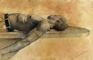 Dying Slave Graphite, oil wash, pigment mixture on Arch Paper 8x16 inches