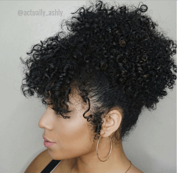 Quick Updo High Puff With Bangs