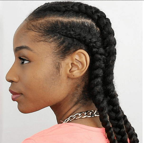 4 Cornrows On Natural Hair With Extensions