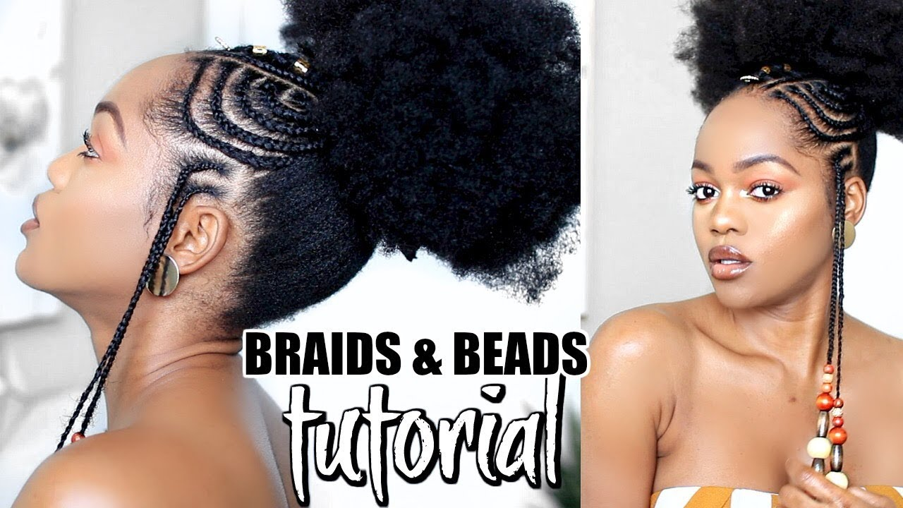 Puff Style With African Fulani Inspired Braids And Beads